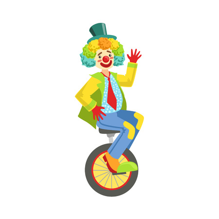 Colorful Friendly Clown With Rainbow Wig In Classic Outfit. Childish Circus Clown Character Performing In Costume And Make Up. Illustration