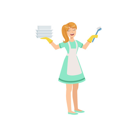 Hotel Professional Maid Washing Dishes Illustration. Cleaning Lady Tiding Up With Special Inventory Simple Flat Vector Drawing. Illustration