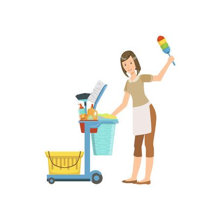 Foto professionali cameriera con Attrezzi per le pulizie Carrello illustrazione. Donna delle pulizie riassetto con l'inventario speciale semplice piatto disegno vettoriale.
