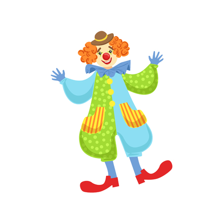 bowler hat: Colorful Friendly Clown In Bowler Hat In Classic Outfit. Childish Circus Clown Character Performing In Costume And Make Up.