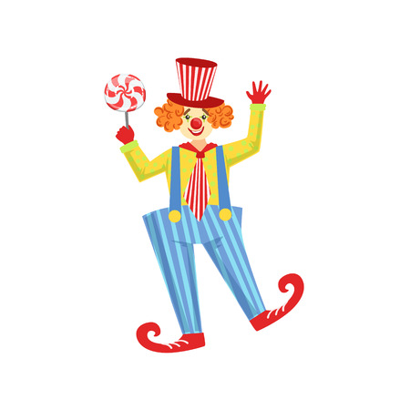 Colorful Friendly Clown With Lollypop In Classic Outfit. Childish Circus Clown Character Performing In Costume And Make Up. Illustration