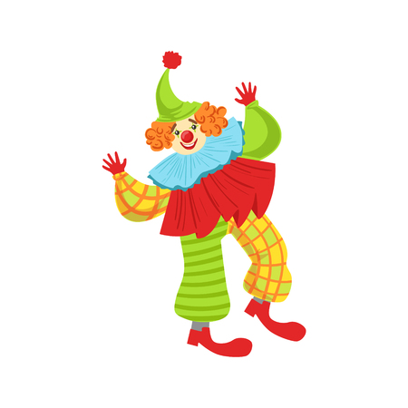 Colorful Friendly Clown In Ruffle To Classic Outfit. Childish Circus Clown Character Performing In Costume And Make Up.