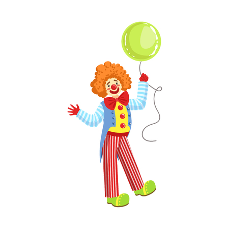 entertainer: Colorful Friendly Clown With Balloon In Classic Outfit. Childish Circus Clown Character Performing In Costume And Make Up.