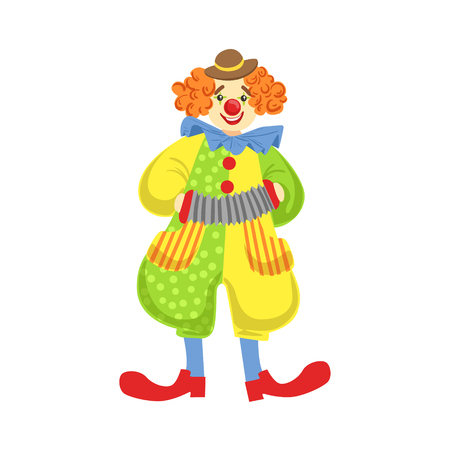 wigs: Colorful Friendly Clown Playing Accordion In Classic Outfit. Childish Circus Clown Character Performing In Costume And Make Up.