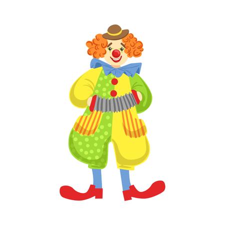 Colorido payaso amistoso que tocan el acordeón en el clásico traje. Infantil del personaje del payaso de circo del espectáculo en vestuario y maquillaje.