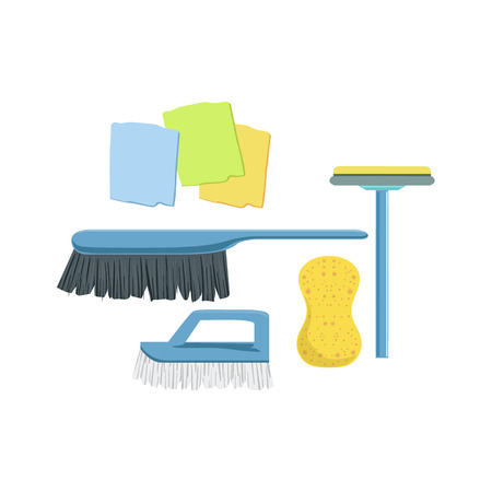 Cleaning Household Equipment Set. Clean Up Special Objects And Chemicals Composition Of Realistic Objects. Flat Vector Drawing On White Background