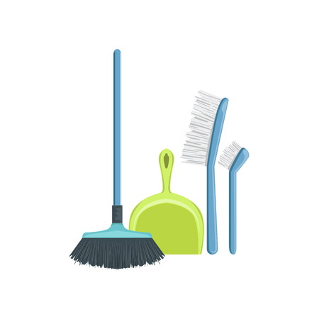 Floor Dusting Household Equipment Set. Clean Up Special Objects And Chemicals Composition Of Realistic Objects. Flat Vector Drawing On White Background Illustration