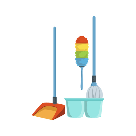 household equipment: Dusting Household Equipment Set. Clean Up Special Objects And Chemicals Composition Of Realistic Objects. Flat Vector Drawing On White Background