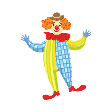 Colorful Friendly Clown In Derby Hat And Classic Outfit. Childish Circus Clown Character Performing In Costume And Make Up. Illustration