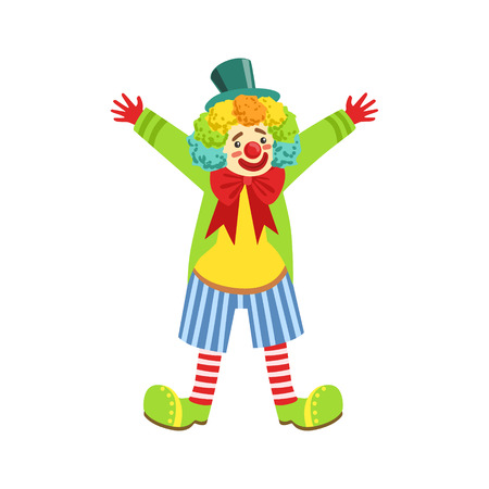 Colorful Friendly Clown With Multicolor Wig In Classic Outfit. Childish Circus Clown Character Performing In Costume And Make Up. Illustration