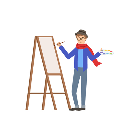 simplified: Man Painter In Scarf And Hat, Creative Person Illustration. Flat Simplified Childish Style Cute Vector Illustration Isolated On White Background