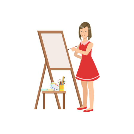 talented: Woman Painter In Red Dress, Creative Person Illustration. Flat Simplified Childish Style Cute Vector Illustration Isolated On White Background