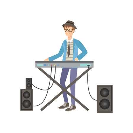 gifted: Guy Playing Electric Piano, Creative Person Illustration. Flat Simplified Childish Style Cute Vector Illustration Isolated On White Background Illustration
