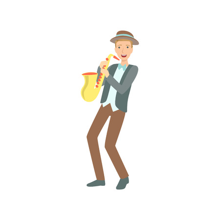Saxophonist, Creative Person Illustration. Flat Simplified Childish Style Cute Vector Illustration Isolated On White Background