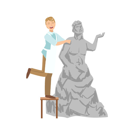 simplified: Sculptor, Creative Person Illustration. Flat Simplified Childish Style Cute Vector Illustration Isolated On White Background
