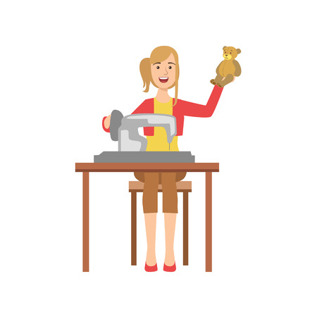 Woman Making Handmade Toys, Creative Person Illustration. Flat Simplified Childish Style Cute Vector Illustration Isolated On White Background Illustration