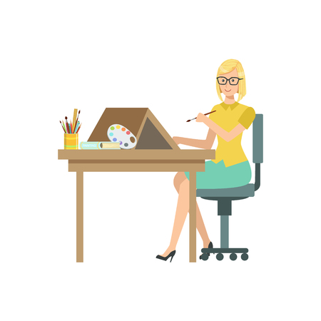 talented: Illustrator With Paint Brush, Creative Person Illustration. Flat Simplified Childish Style Cute Vector Illustration Isolated On White Background