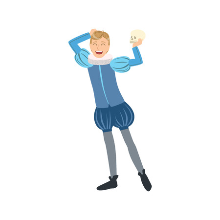 hamlet: Actor Playing Hamlet, Creative Person Illustration. Flat Simplified Childish Style Cute Vector Illustration Isolated On White Background Illustration