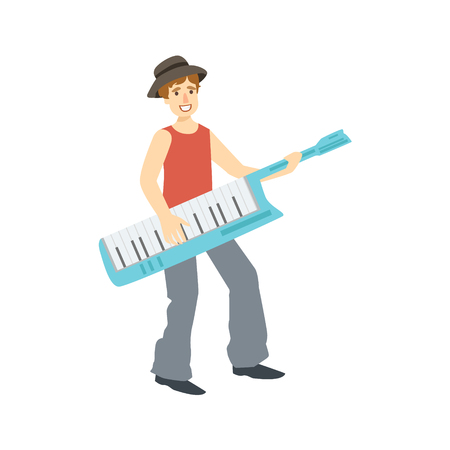 Guy Playing Musical Keyboard, Creative Person Illustration. Flat Simplified Childish Style Cute Vector Illustration Isolated On White Background