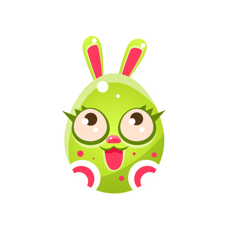 holyday: Toxic Green Egg Shaped Easter Bunny With Eyelashes. Bright Color Vector Christian Holyday Icon Isolated On White Background. Cute Childish Animal Character Design.