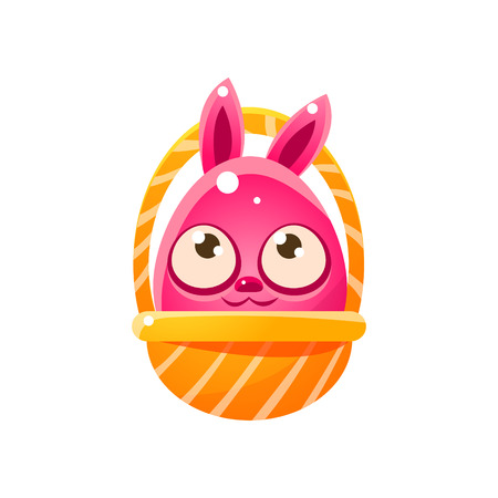 holyday: Pink Egg Shaped Easter Bunny In Basket. Bright Color Vector Christian Holyday Icon Isolated On White Background. Cute Childish Animal Character Design.