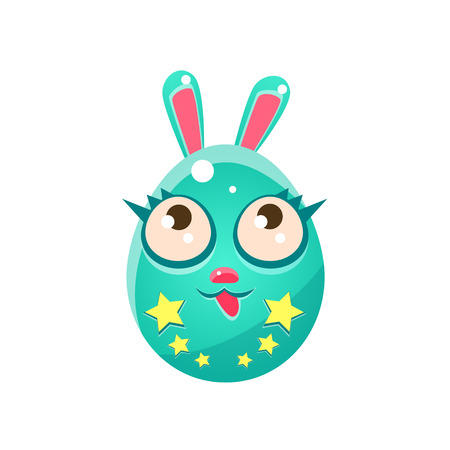 egg shaped: Blue Egg Shaped Easter Bunny With Eyelashes. Bright Color Vector Christian Holyday Icon Isolated On White Background. Cute Childish Animal Character Design.