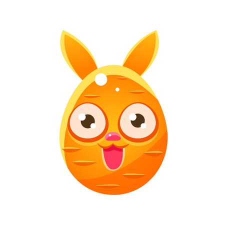 Orange Egg Shaped Easter Bunny. Bright Color Vector Christian Holyday Icon Isolated On White Background. Cute Childish Animal Character Design.