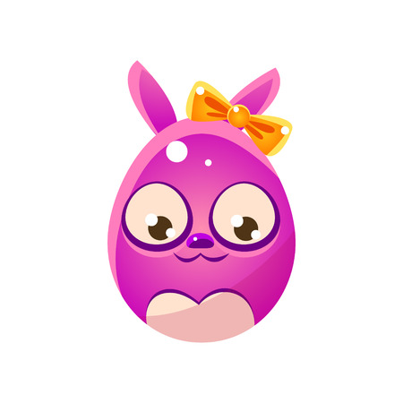 Purple Egg Shaped Easter Bunny With Bow. Bright Color Vector Christian Holyday Icon Isolated On White Background. Cute Childish Animal Character Design.