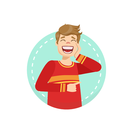 laugh out loud: Laughing Emotion Body Language Illustration. Emotional Facial Expression And Gesture With Man In Red T-shirt In Blue Round Frame . Illustration