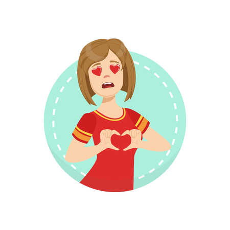 Hearts Before Eyes Emotion Body Language Illustration. Emotional Facial Expression And Gesture With Man In Red T-shirt In Blue Round Frame . Illustration