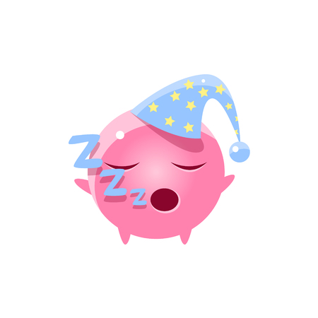 snoring: Sleeping Round Character Emoji. Cute Emoticon In Cartoon Childish Style Isolated On White Background.