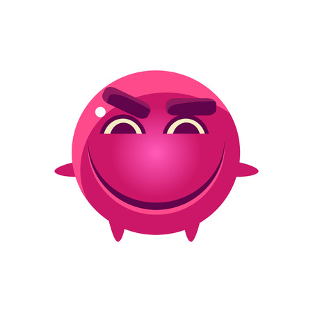 mischievous: Mischievous Round Character Emoji. Cute Emoticon In Cartoon Childish Style Isolated On White Background. Illustration