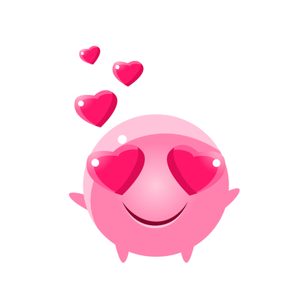 In Love Round Character Emoji. Cute Emoticon In Cartoon Childish Style Isolated On White Background. Illustration