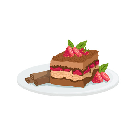 food dish: Tiramisu European Cuisine Food Menu Item Detailed Illustration. Cafe Dish In Realistic Design Vector Drawing.