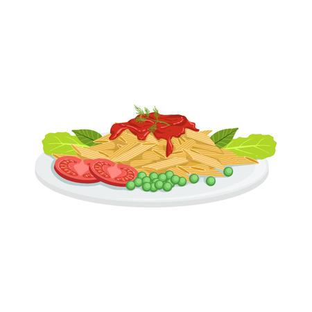 Pasta European Cuisine Food Menu Item Detailed Illustration. Cafe Dish In Realistic Design Vector Drawing. Illustration