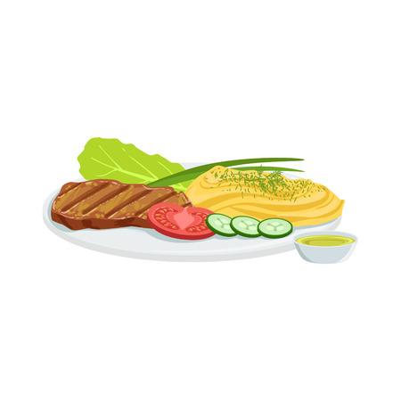 Steak European Cuisine Food Menu Item Detailed Illustration. Cafe Dish In Realistic Design Vector Drawing. Illustration