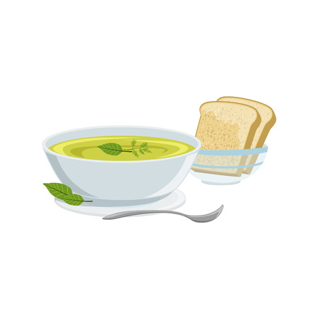 european cuisine: Soup European Cuisine Food Menu Item Detailed Illustration. Cafe Dish In Realistic Design Vector Drawing.