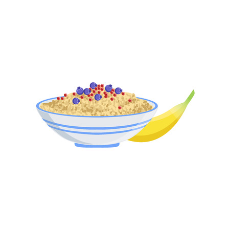 Porridge European Cuisine Food Menu Item Detailed Illustration. Cafe Dish In Realistic Design Vector Drawing. Иллюстрация