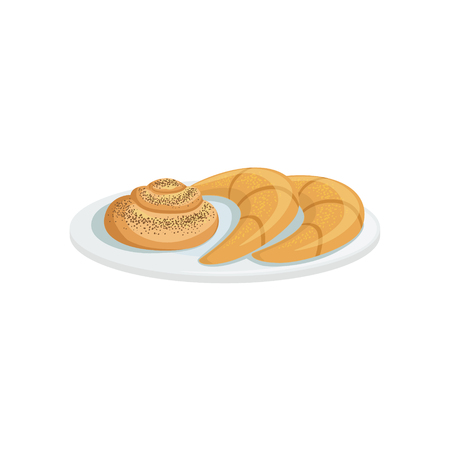 european cuisine: French Pastry European Cuisine Food Menu Item Detailed Illustration. Cafe Dish In Realistic Design Vector Drawing.