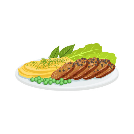 european cuisine: Pepper Meat European Cuisine Food Menu Item Detailed Illustration. Cafe Dish In Realistic Design Vector Drawing.