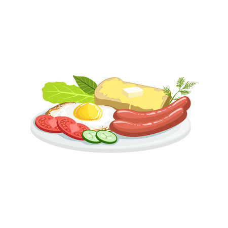English Breakfast European Cuisine Food Menu Item Detailed Illustration. Cafe Dish In Realistic Design Vector Drawing.