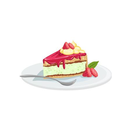 Cheesecake European Cuisine Food Menu Item Detailed Illustration. Cafe Dish In Realistic Design Vector Drawing.