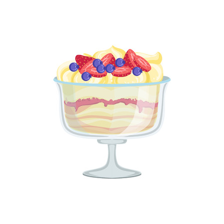 european cuisine: Dessert In Glass European Cuisine Food Menu Item Detailed Illustration. Cafe Dish In Realistic Design Vector Drawing.