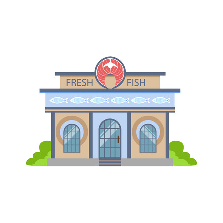Fresh Fish Shop Commercial Building Facade Design. Icona colorata dettagliata In Cartoon stile semplice. Illustrazione vettoriale piatto isolato su sfondo bianco Archivio Fotografico - 65648442