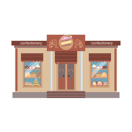 confectionary: Confectionary Shop Commercial Building Facade Design. Colorful Detailed Icon In Cartoon Simple Style. Flat Vector Illustration Isolated on White Background