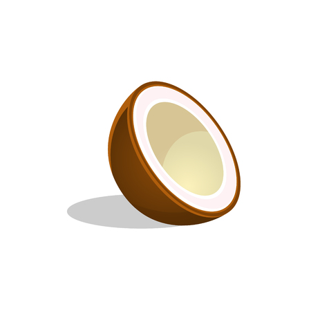 Coconut Cut In Half Bright Icon. Isolated Vector Drawing Of Tropical Exotic Fruit On White Background