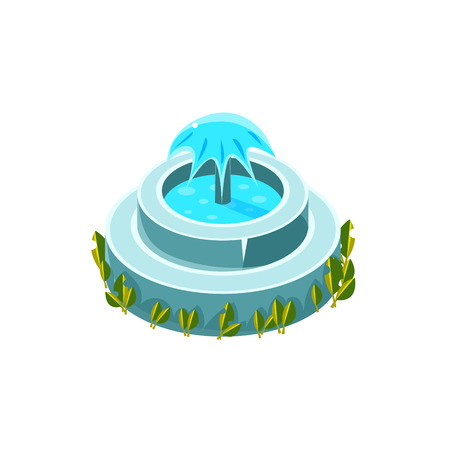 garden fountain: Classy Round Fountain Isometric Garden Landscaping Element. Video Game Landscape Constructor Item In Cute Colorful Design Isolated On White Background.