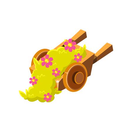 꽃 아이소 메트릭 조 경 요소와 장식 나무 휠 배럴. 비디오 게임 프리 생성자 항목 흰색 배경에 고립 된 귀여운 화려한 디자인. 일러스트
