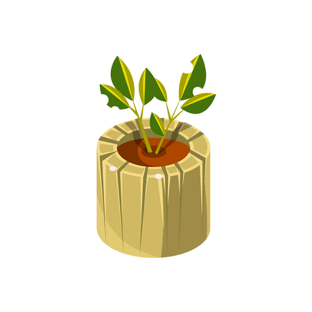 Wooden Pot For Plant Isometric Garden Landscaping Element. Video Game Landscape Constructor Item In Cute Colorful Design Isolated On White Background.
