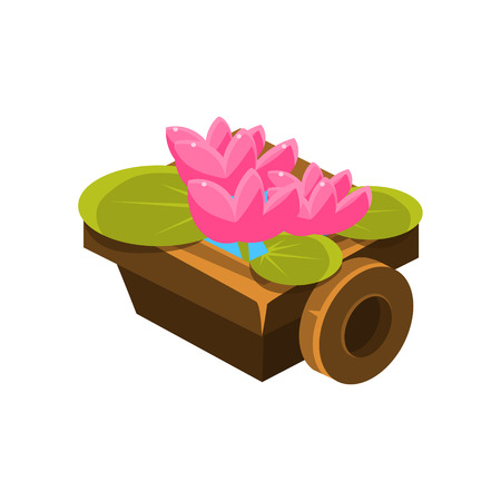 Wooden Pot With Water Lilies Isometric Garden Landscaping Element. Video Game Landscape Constructor Item In Cute Colorful Design Isolated On White Background. Illustration